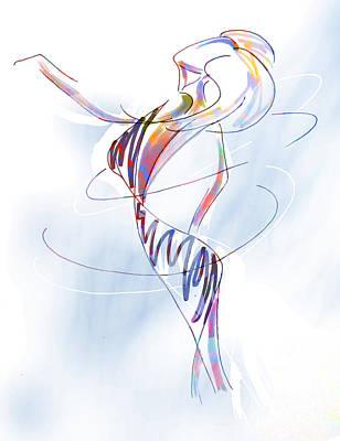 Textured Drawing - Dancing by Robert Ball