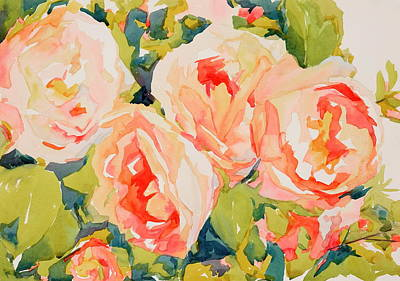 Wall Art - Painting - Dancing Roses  by Jo  Mackenzie