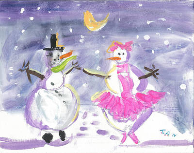 Painting - Dancing Snow People by Ian Reynolds