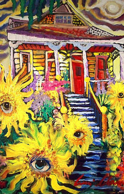 New Orleans Oil Painting - Dancing Sunflowers In New Orleans by Amzie Adams