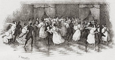 Ballroom Drawing - Dancing The Polka At A Ball In 1830 by Vintage Design Pics