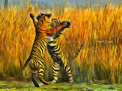 Lion Digital Art - Dancing Tigers - Da by Leonardo Digenio