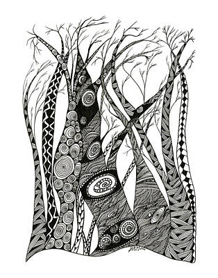 Drawing - Dancing Trees by Barbara McConoughey