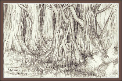 Drawing - Dancing Trees by Ruth Renshaw