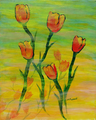 Painting - Dancing Tulips by Becky Chappell