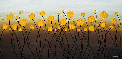 Print featuring the painting Dancing Tulips by Carmen Guedez