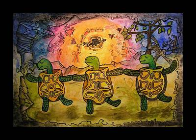 Animal Symbolism Painting - Dancing Turtles by Mimulux patricia no No