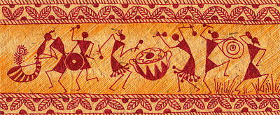Dancing Warlis Print by Subhash Limaye