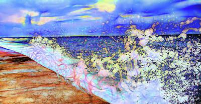 Digital Art - Dancing Water Drops At  Melacon Sea Wall In Havana Cuba Pb_10001 by Colin Cuthbert