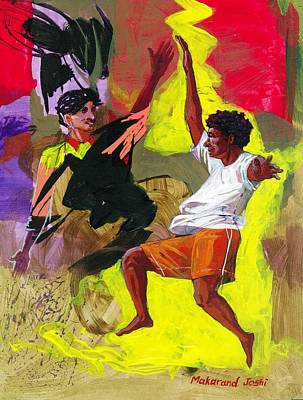 Maharashtra Painting - Dancing With My Friends by Makarand Joshi