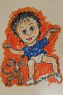 Dachshund Art Drawing - Dancing With The Puppy by Geraldine Myszenski