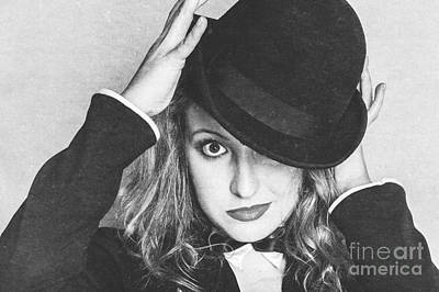 Dancing Woman Wearing Retro Theatre Hat Art Print by Jorgo Photography - Wall Art Gallery