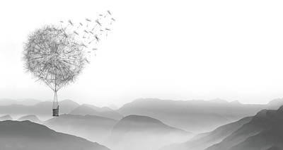 Drawing - Dandelion Floral Mountain Adventure - Black And White Surreal Art by Wall Art Prints
