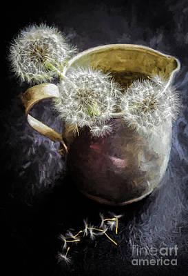 Photograph - Dandelion Blowballs In Tin Pitcher by Kathleen K Parker