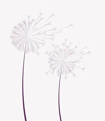 Autumn Scene Drawing - Dandelion Flower  by Miroslava Hlavacova
