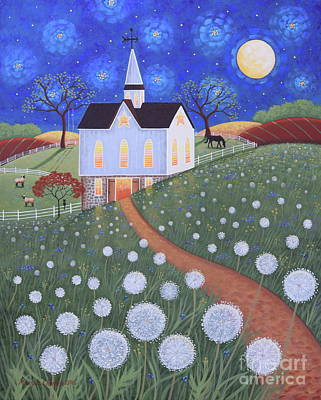Dandelion Painting - Dandelion Moon by Mary Charles