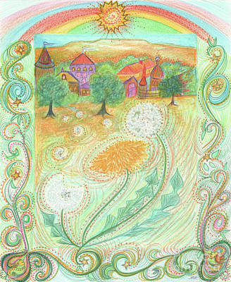 Drawing - Dandelion Village By Jrr by First Star Art