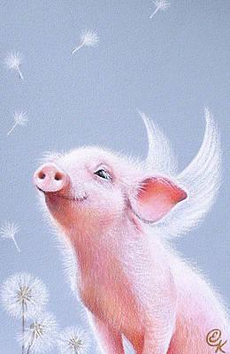 Piglets Drawing - Dandelions by Elena Kolotusha