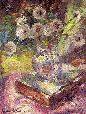 Oil Drawing - Dandelions Flowers In A Vase Sunny Still Life Painting by Svetlana Novikova