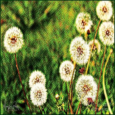 Digital Art -  Dandelions In The Grass by MaryLee Parker