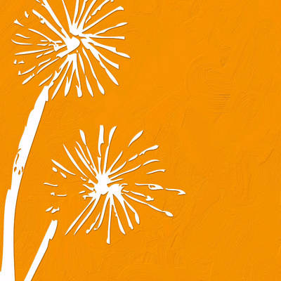 Dandelion Digital Art - Dandelions - Orange by Bonnie Bruno