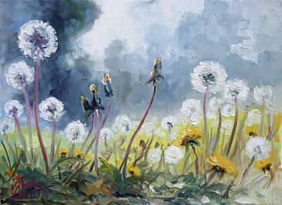 Meadow Painting - Dandelions - Spring by Irek Szelag