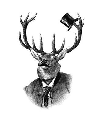 Black Top Digital Art - Dandy Deer Portrait by Madame Memento