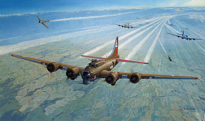 B-17 Wall Art - Painting - Danger Cold Fear And Courage by Steven Heyen