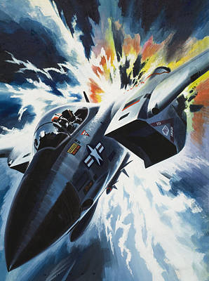 Gun Fighter Painting - Danger From The Skies by Wilf Hardy