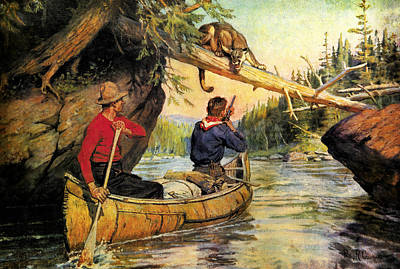 Canoe Painting - Dangerous Encounter by JQ Licensing