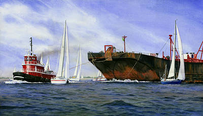 Tugboat Painting - Dangerous Race by Marguerite Chadwick-Juner