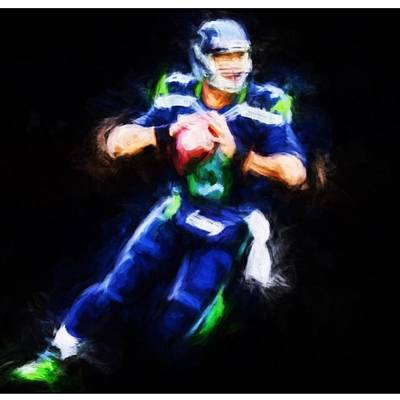 Sports Photograph - @dangerusswilson @seahawk.city by David Haskett