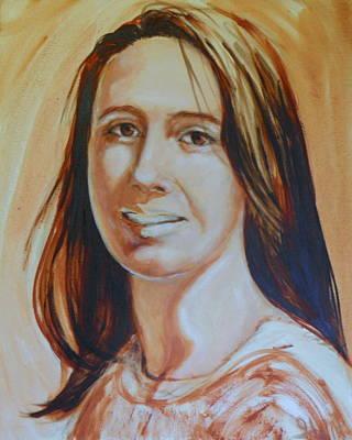 Raw Umber Painting - Dani Girl by Ida Eriksen