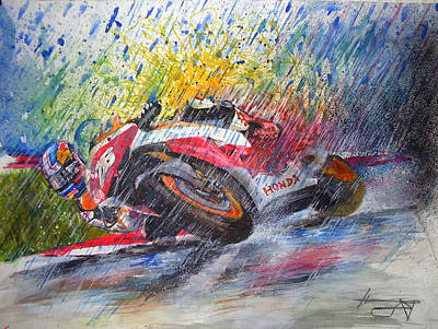 Motogp Painting - Dani Pedrosa Reverse  by Adrian Lopez Lozano