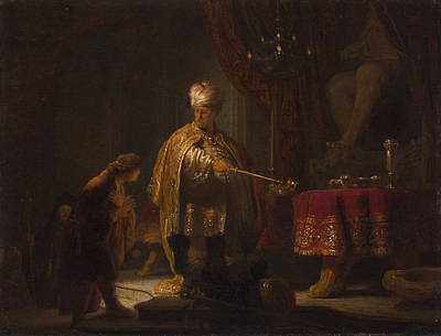 Bible Art Painting - Daniel And Cyrus Before The Idol Bel by Rembrandt