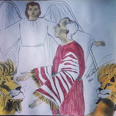 God Drawing - Daniel And Lion's Den by Love Art Wonders By God