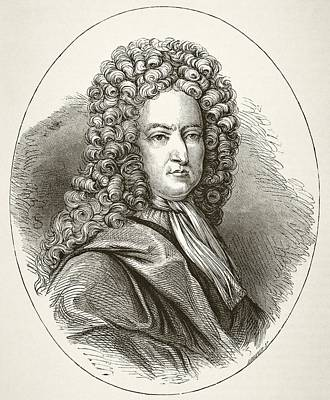 Autographed Drawing - Daniel Defoe 1660 To 1731, English by Vintage Design Pics