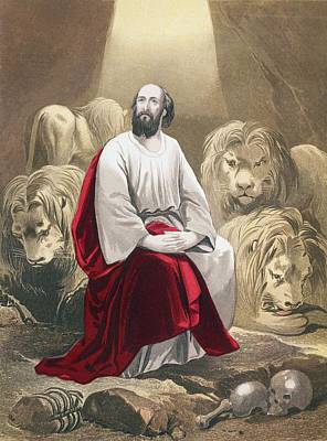 Bible Drawing - Daniel In The Lion S Den From The Holy by Vintage Design Pics