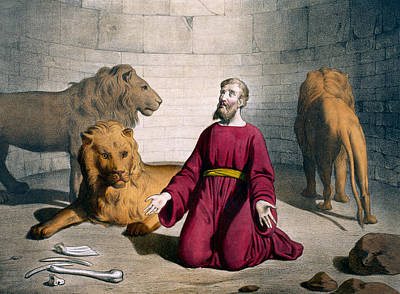 Daniel In The Lions' Den Art Print by Bequet