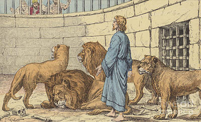 Daniel In The Lions' Den Art Print by French School