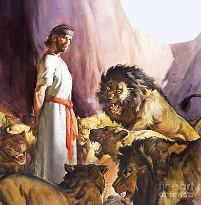 Daniel In The Lions' Den Art Print by James Edwin McConnell