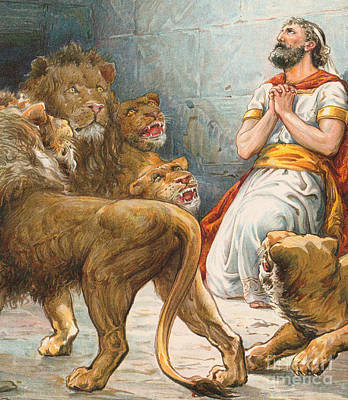 Daniel In The Lion's Den Art Print by Robert Ambrose Dudley