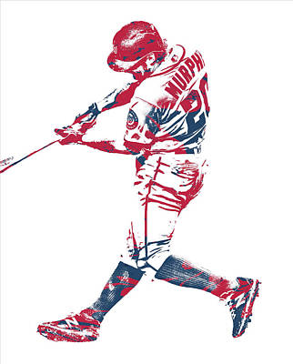 Mixed Media - Daniel Murphy Washington Nationals Pixel Art 1 by Joe Hamilton