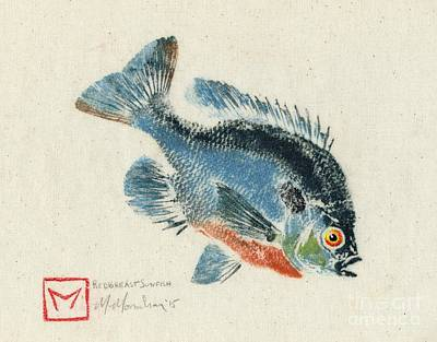 Daniel's Redbreast Sunfish Gyotaku Original by Matt Monahan