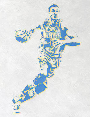 Basket Ball Mixed Media - Danilo Gallinari Denver Nuggets Pixel Art by Joe Hamilton