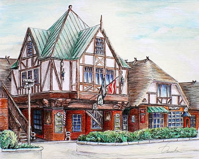 Drawing - Danish Architecture In Solvang California by Danuta Bennett