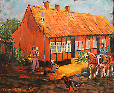 Painting - Danish Cottage by Art Nomad Sandra  Hansen