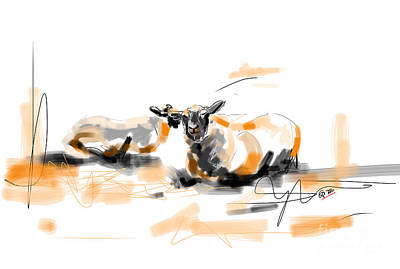 Painting - Danish Sheep by Go Van Kampen