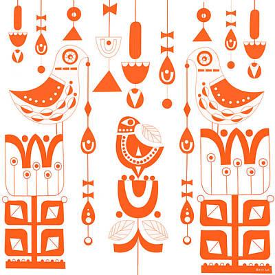 Danish Sun Birds And Flowers Art Print