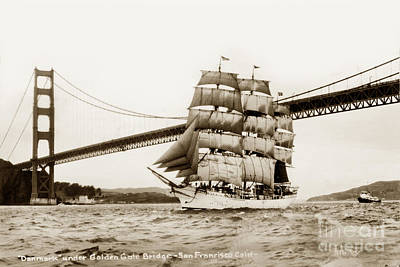 Photograph - Danmark Sailing Under The Golden Gate Bridge San Francisco by California Views Mr Pat Hathaway Archives